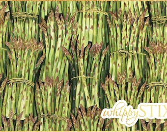 Vegetable Fabric By the Yard, Cook Asparagus by The Henley Studio Makower UK 812, BTY Food Greens Veggies Cotton Quilting Material