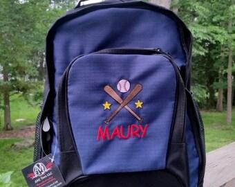 Personalized backpack, Boys baseball backpack, Monogram backpack,  big backpack, bookbag