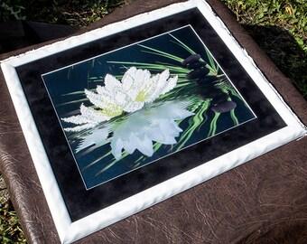 White Lotus beaded stitching, bead embroidery, beading on needlepoint kit, DIY beadpoint craft set, beaded painting