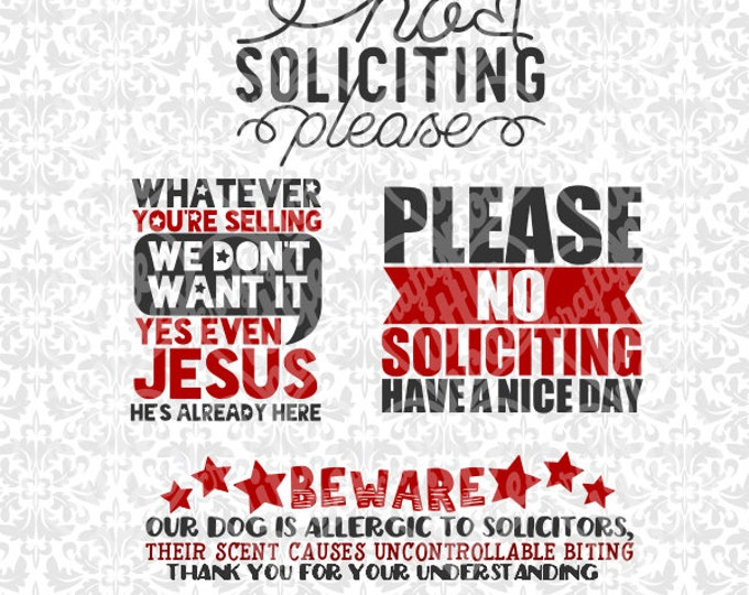 No Soliciting Please / Beware of Dog / We have Jesus SVG STUDIO Ai EPS Vector Instant Download Commercial Use Cutting FIle Cricut Silhouette