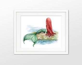 Mermaid Watercolor Art Print - Mermaid Painting Wall Art Poster - Seaside Bathroom Home Decor - Nursery Wall Art Print - Beach House Art