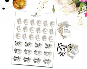 PAPER DUE/School/College Planner Stickers for Erin Condren Planner/Happy Planner/Personal Planner/Travelers Notebook/Functional Sticker Kit
