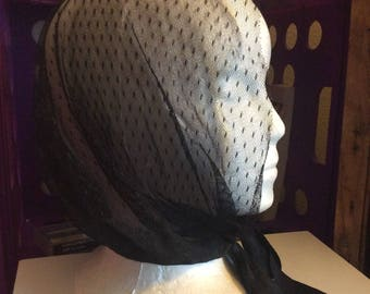 Soft gossamer lace Hat sheer vtg net with ties no flaws Mesh black