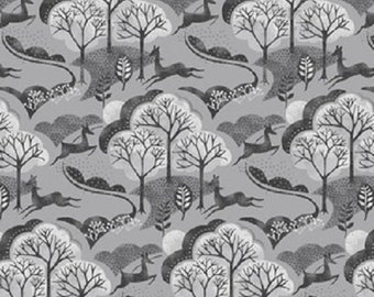 Into the Woods Trees Grey Cotton Quilting Sewing Fabric