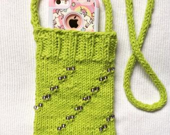 Cross body Beaded cell phone bag
