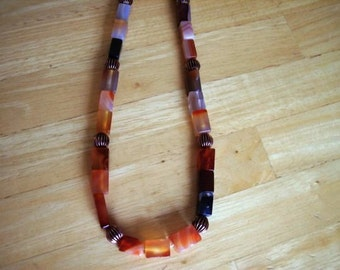 Spring breeze Tan and Caramel Quartz Necklace 19 inches