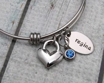 Personalized Name Bracelet - Birthstone Jewelry - Hand Stamped Heart Bracelet - Expandable Bangle Bracelet Stainless Steel Bracelet