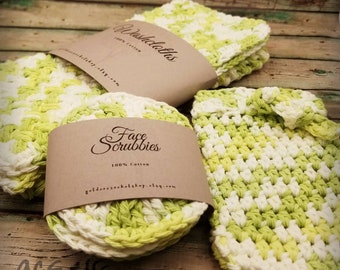 Washcloth/Face Scrubby Set * Cotton Facial Care Set * Facial Scrubs * Soft Washcloths Scrubbies * Ready to Ship