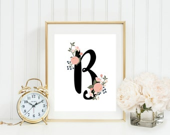 Custom Nursery Initial Printable Baby Girl Monogram Floral Nursery Floral Nursery Letters Peach Nursery Decor Blush Nursery Wall Art