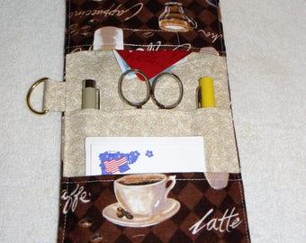 Pocket Organizer, Medical Pocket Organizer, 5 Pockets, Nurse, Vet Tech, Lab Tech, Scrub Pocket, Backpack, Coffee Print, Ready to Ship