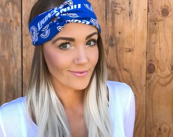 Detroit Lions Vintage Style Turban Headband || Hair Band Accessory Cotton Workout Yoga Fashion Royal Blue White Head Scarf Foorball Girl