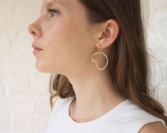 Line Drawing Earrings // Small Abstract Earrings // Gold Wire Earring // Wire Wrapped Earring