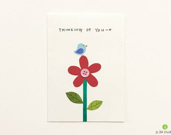 Thinking of you, handmade card, blue bird and flower 02