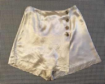 1990's, silky, shimmery, moonlight silver, skort, Women's size Small/Medium