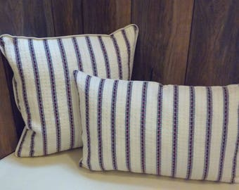 Off-white Designer Pillow Cover with red and blue stripes, Decorative Pillow Case, Handwoven Cotton Pillow