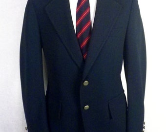 vtg 60s 70s Kingsridge Solid Green Canvassed Polyester Blazer Sportcoat 40 R