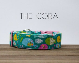 """Modern Turquoise Beach Inspired Colorful Fish Dog Collar """"The Cora"""""""