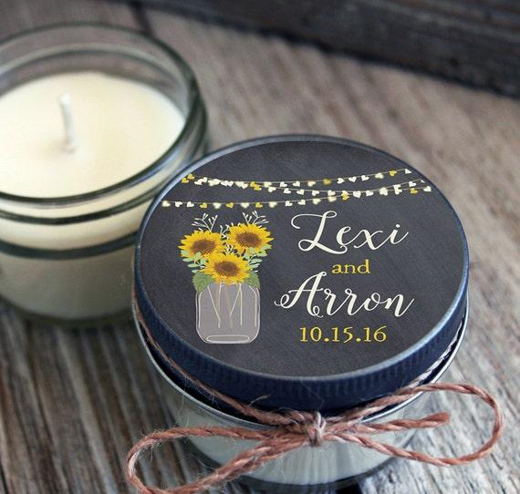 75 - 4 oz Bridal Shower Favor//Sunflower Mason Jar Favor//Soy Candle Favor//Personalized Bridal Shower Favor//Shower Favor//Chalkboard