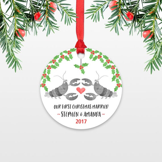 Lobster Personalized First Christmas Ornament Couple, Our First Christmas Engaged, 1st First Christmas Married, First Christmas Together
