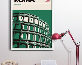 Rome Colosseum Print, Modern Graphic Travel Poster