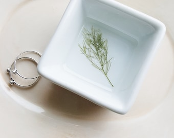 Nature Ring Dish Organizer, Small Jewelry Storage, Fern Ring Dish, Square Ring Dish, Minimalist Ring Holder, Flower Dish, Nature Lover Gift