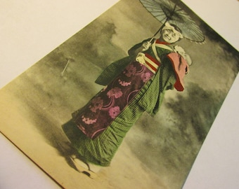 Vintage Japanese Photo-Postcard of Young Mother Carrying Baby on Back