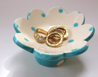 Turquoise & white pottery Ring Dish for kitchen or bath, ceramic candle holder, whimsical dresser jewelry dish