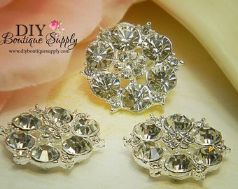 Rhinestone Buttons Metal Crystal Embellishment Flatback Baby Headbands invitations crystal bouquet flowers centers 5 pcs 22mm 049023