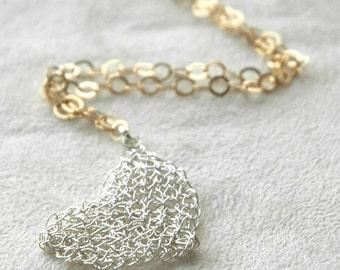 Wire crochet jewelry. wire crochet necklace, Heart pendant necklace, wire crochet  silver charm necklace , long chain