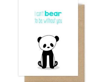 Panda I Miss You Card Cute Animal Pun Goodbye Farewell Leaving Moving Going Away Can't Bear It Without Thinking of Missing Handmade Greeting