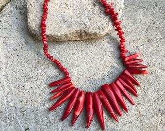 Vintage Red Jasper Glass Beaded Necklace Jasper Beaded Necklace Summer Beaded Necklace