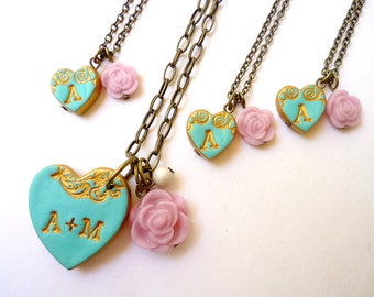 Mother and Daughters Initial Heart Jewelry, Coordinated mom and daughters Necklace