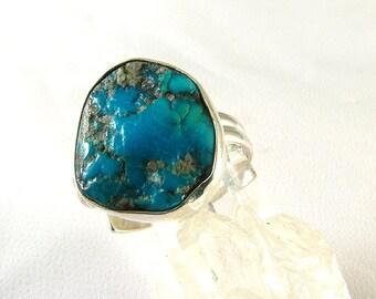 Genuine Rough American Blue Turquoise Sterling adjustable ring,OOAK, December birthstone