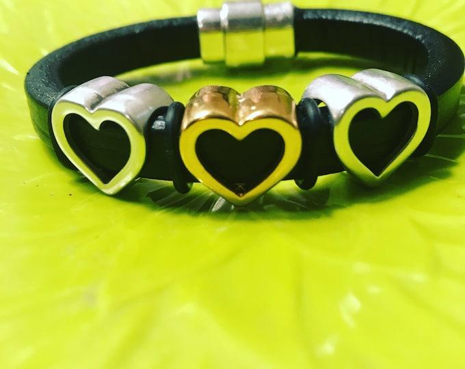 Metal Heart Leather Bracelet