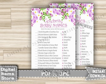 Celebrity Baby Name Game Printable Floral - Celebrity Baby Shower Game with Purple Flowers Theme for Girl - Instant Download - fg1