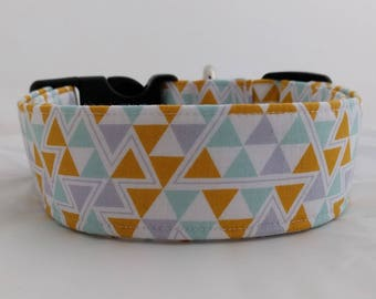 Triangles-Gold-Lilac-Mint Adjustable Buckle-Martingale Dog Collar-Small-Large Breed Dog-1 inch 1.5 -2 inch width-Traffic-Dog Leash