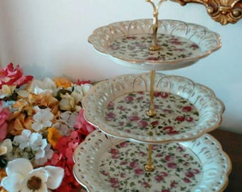 Tidbit Serving Tray for Snacks and Desserts - Beautiful Rose Pattern - Excellent Condition!