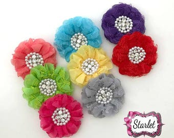 "3"" Chiffon Lace Flower, DIY Flowers, No Clip Flowers, Headband Flowers, Make your own Headband Flower Supply"