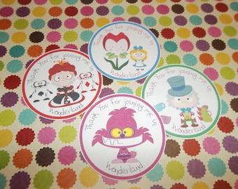 Alice in Wonderland  gift tags set of 12