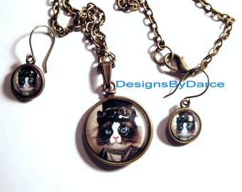 Steampunk Necklace Earring Set Top Hat Cat Clock Face Brass Chain Lobster Clasps Niobium Ear Wires