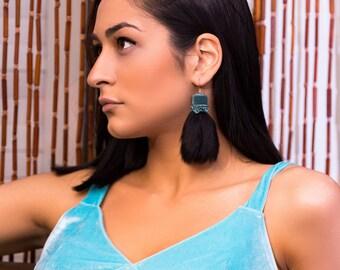 Black fur earrings