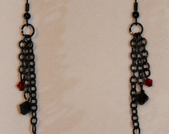 Gothic Black and Red Earrings