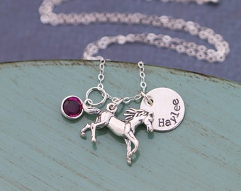 Horse Necklace Custom Horse Lover Gift • Sterling Silver Horse Jewelry Horse Rider Girl Necklace • Pet Horse Charm • Running Horse Pendant