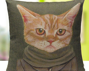 Cats In Clothes Pillow Cover - Cooper - Painting by Heather Mattoon