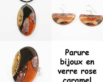 Matching pink and caramel glass jewelry set