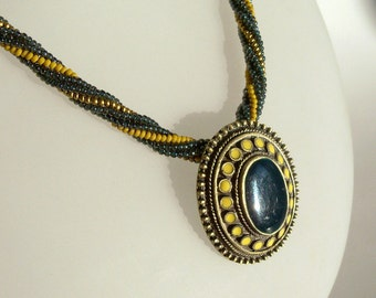 Herringbone Rope Necklace with Pendant in Mustard and Gold
