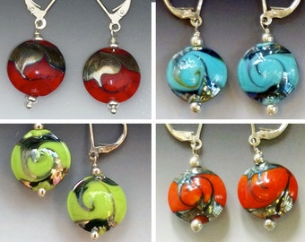 Ginger Earrings: Red, Turquoise, Lime or Orange - glass beads with sterling silver components