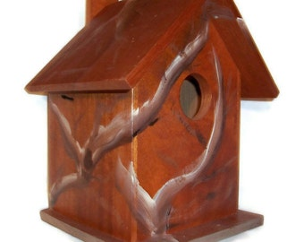 Cedar Bird House - Hand Crafted Birdhouse - MADE In The USA - Ready To Ship - White Birch Decorative Painted