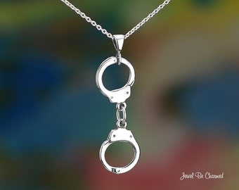"Sterling Silver Handcuffs Necklace with 16-24"" Chain or Pendant Only"