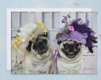 BLANK Card - Friends In Fancy Hats - All Occasion PUG Greeting Card- Pug Gift - Pugs and Kisses - 5x7